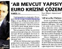Milliyet: EU can go beyonf the Euro crisis only through institutional reform